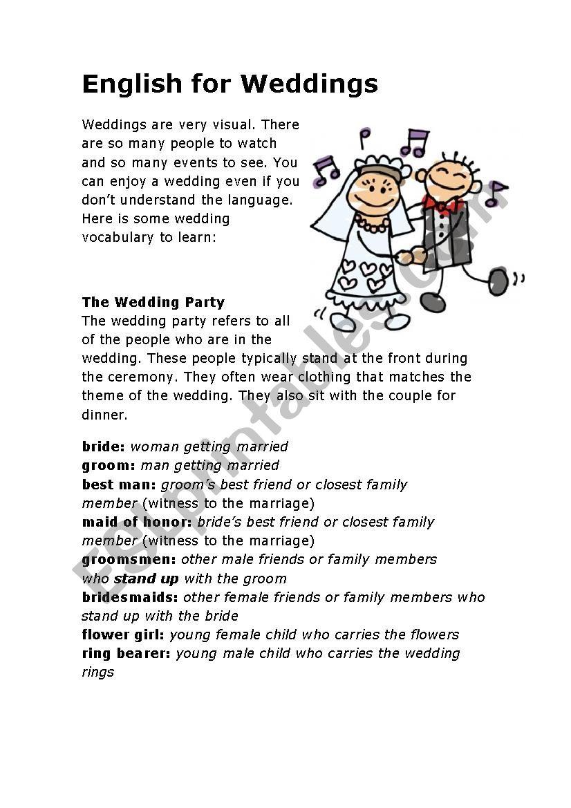 English For Weddings worksheet