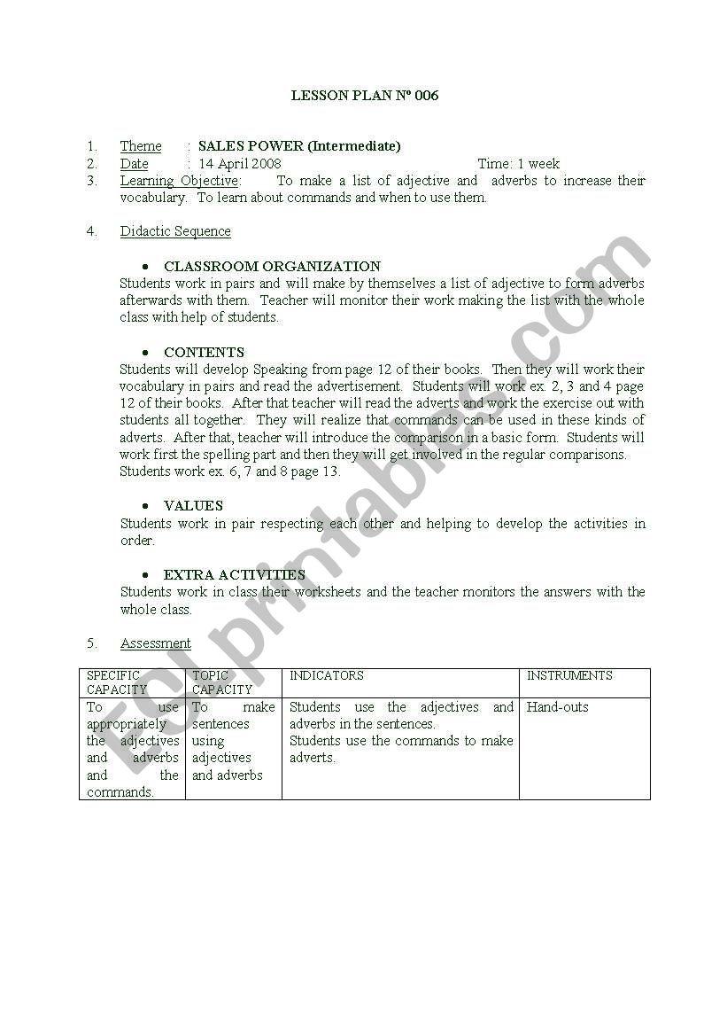 LESSON PLAN 3 worksheet