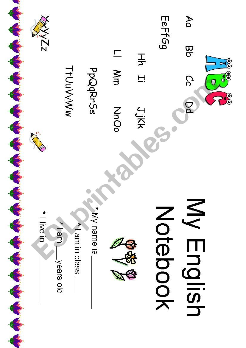 notebook cover worksheet