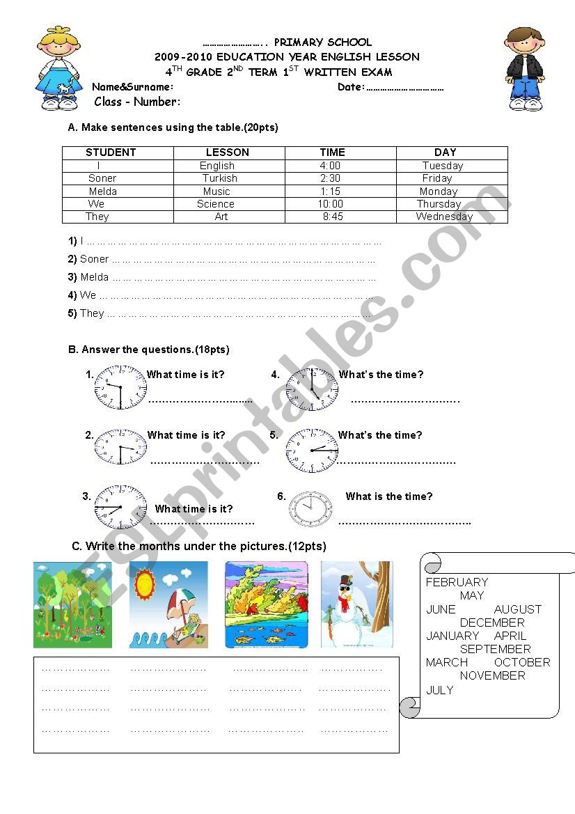 4th grade exam paper 1 worksheet