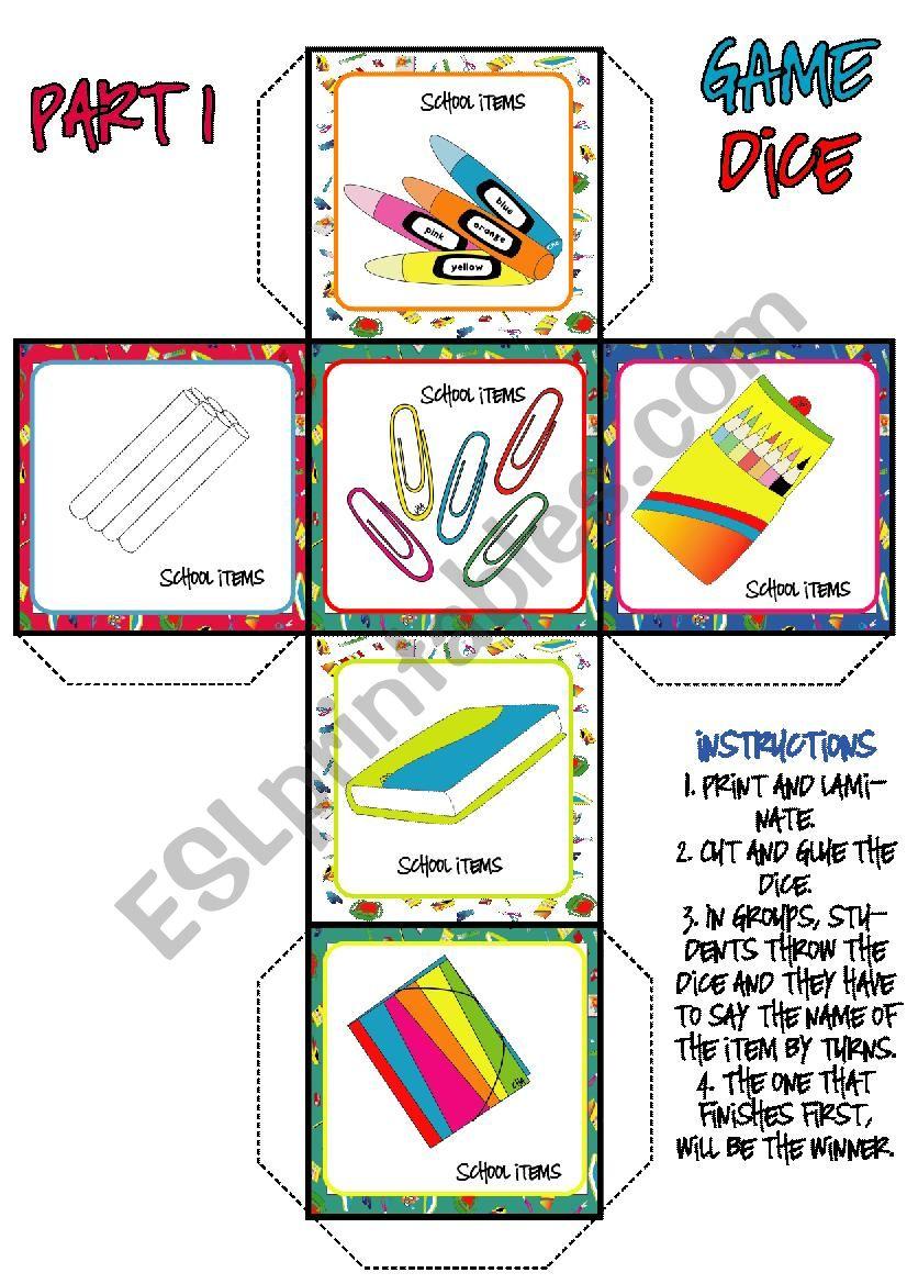 School Items DICE GAME (1-3) worksheet