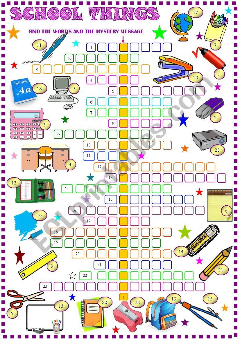 School things , crossword puzzle with hidden message