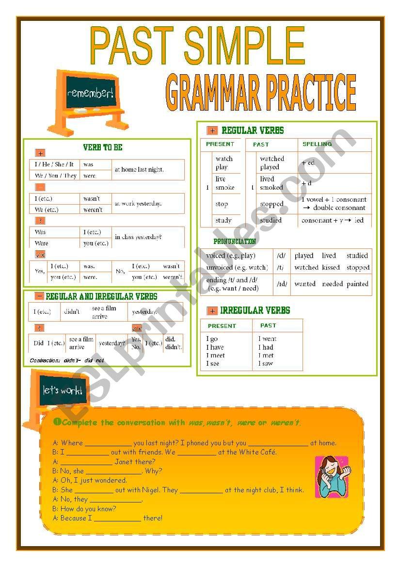 PAST SIMPLE-GRAMMAR PRACTICE worksheet