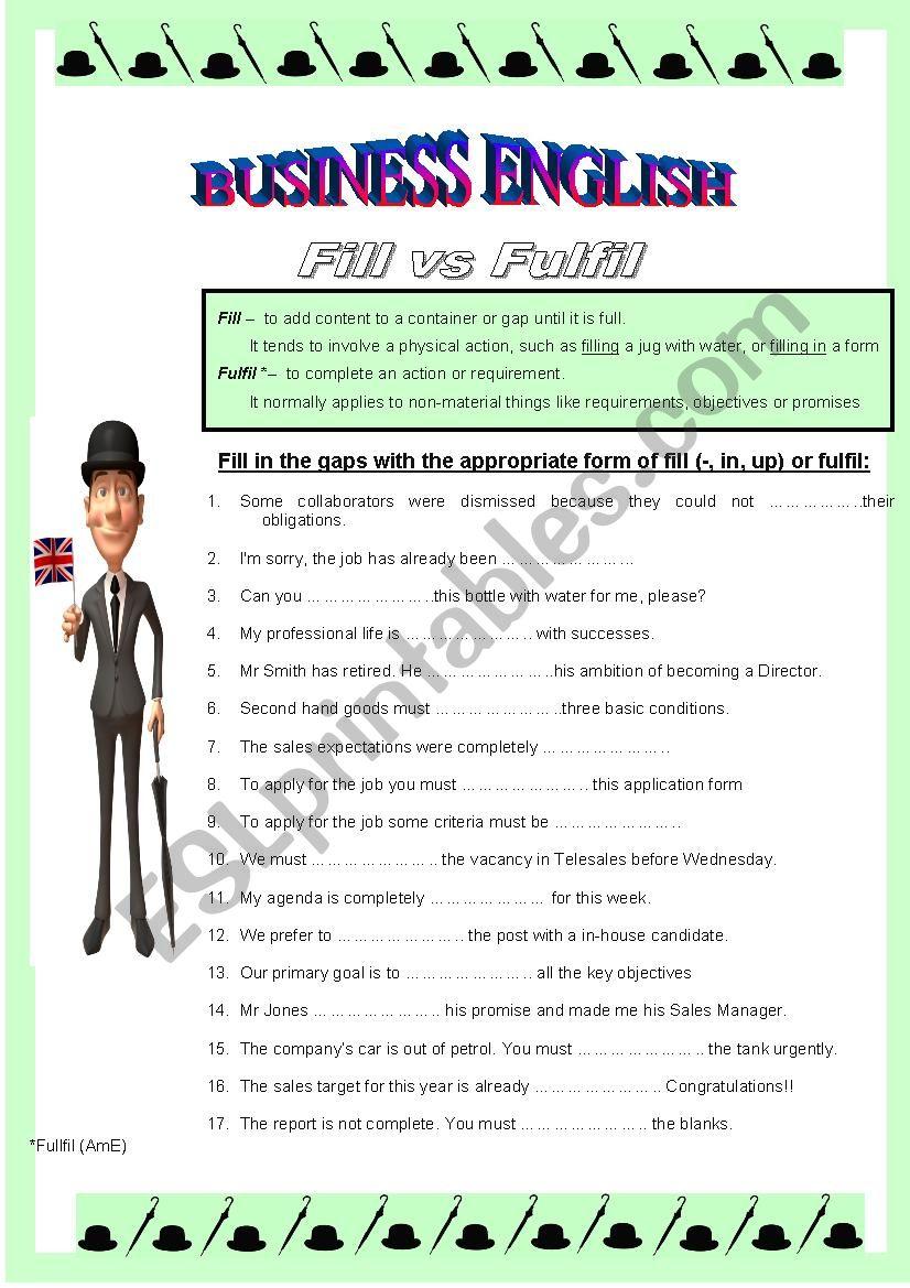 BUSINESS ENGLISH 4 - Fill vs Fulfil