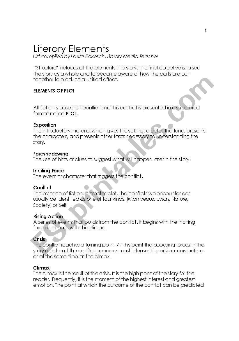 English Worksheets Literary Elements Summary
