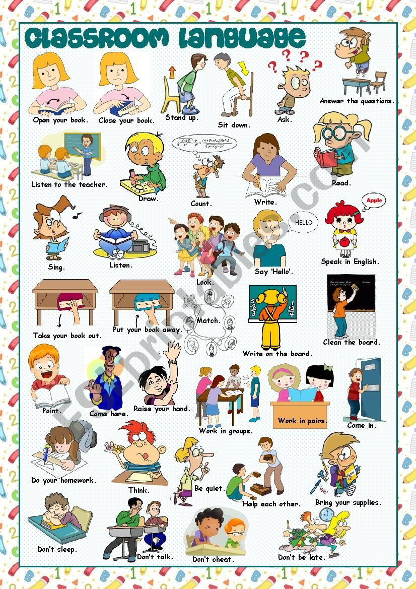 Classroom Language Picture Dictionary