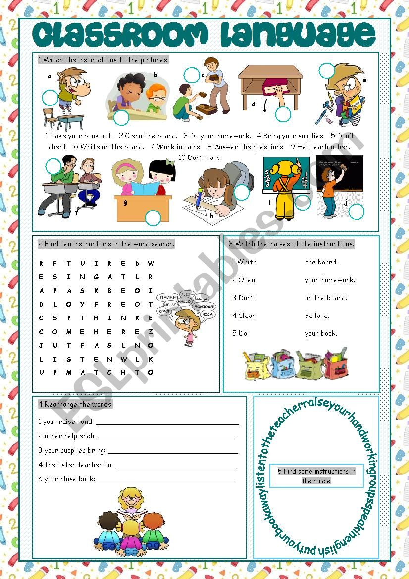 Classroom Language Vocabulary Exercises