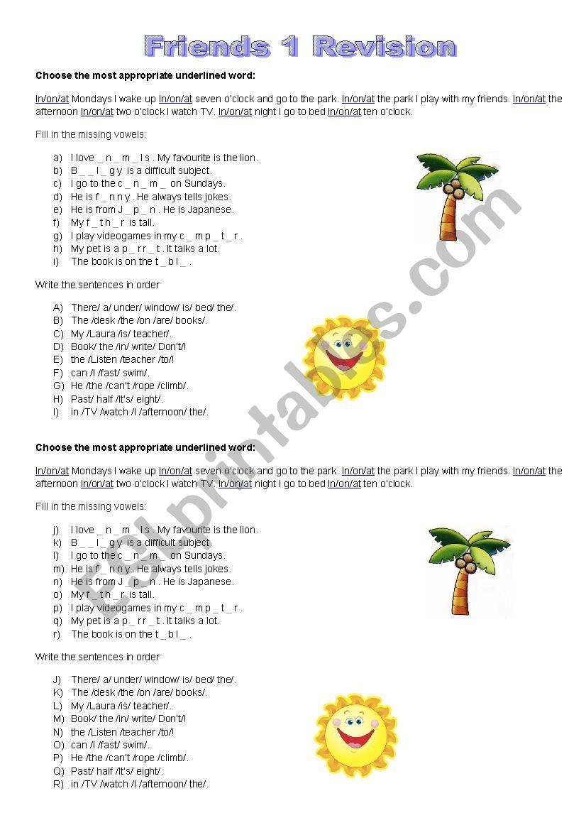 Friends 1 Revision worksheet