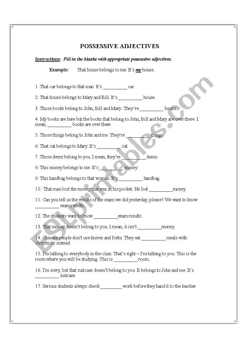 Possessive Adjectives - ESL worksheet by AhmadEldridge