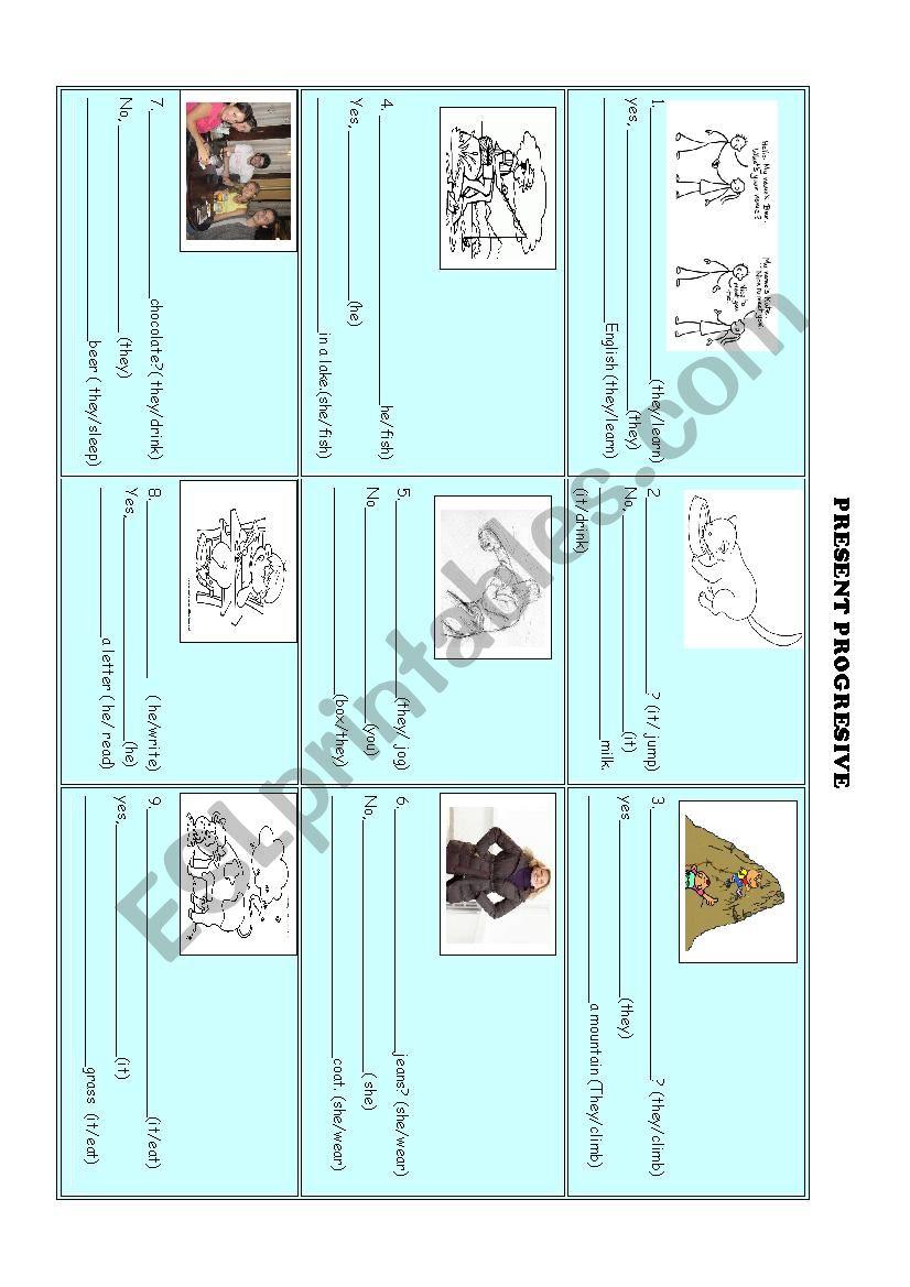 present progresive worksheet