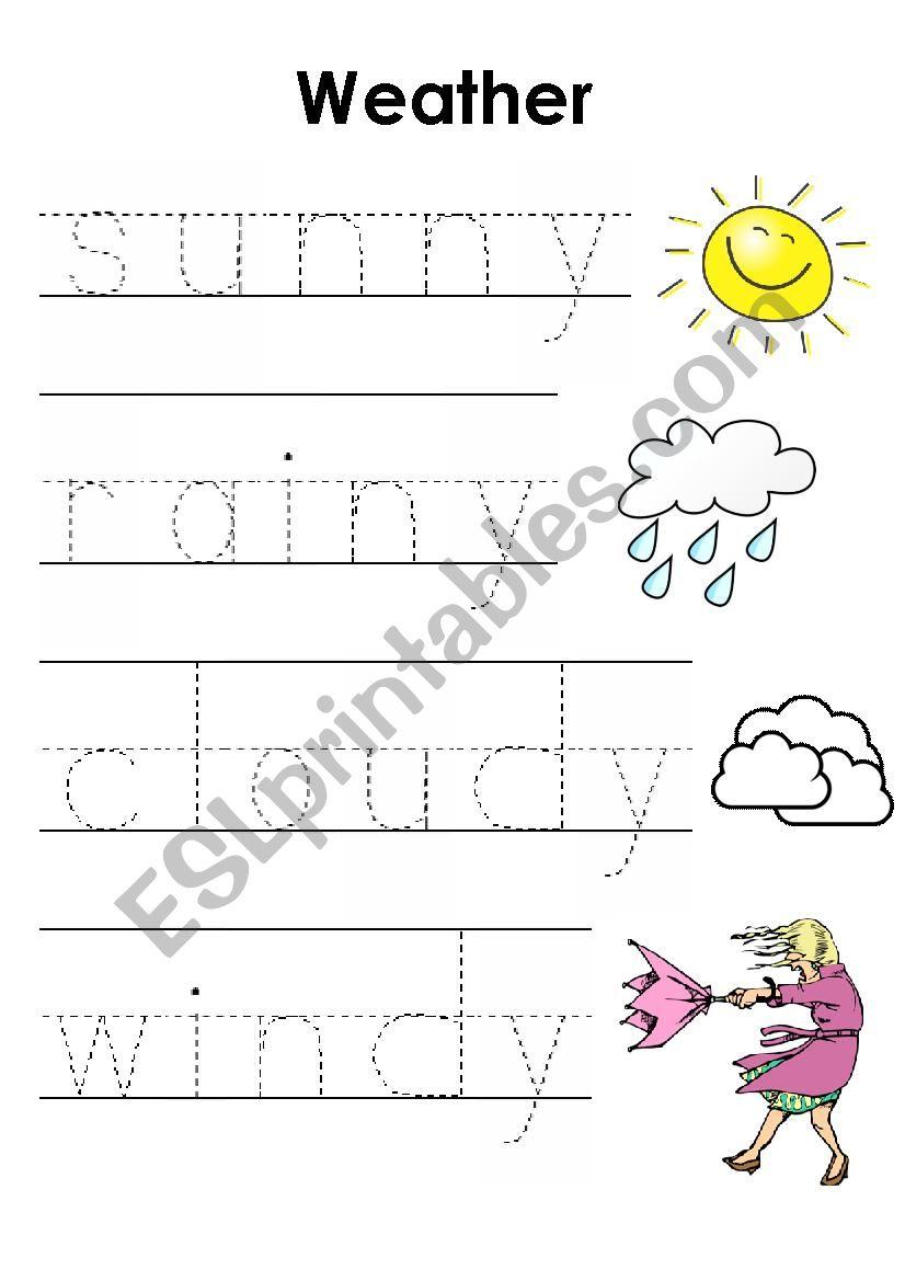 english worksheets weather pre writing worksheet. Black Bedroom Furniture Sets. Home Design Ideas