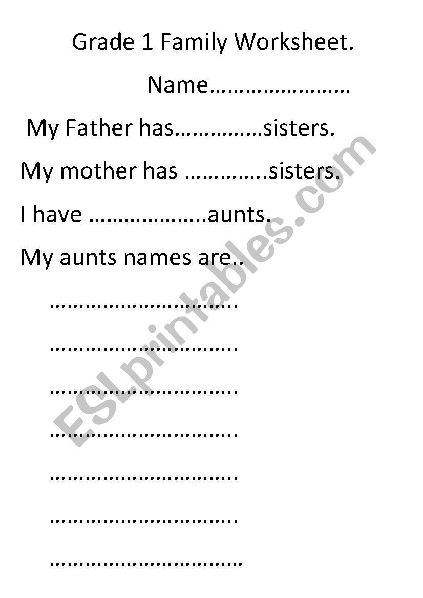 Grade 1 Family Worksheet. - ESL worksheet by tayto