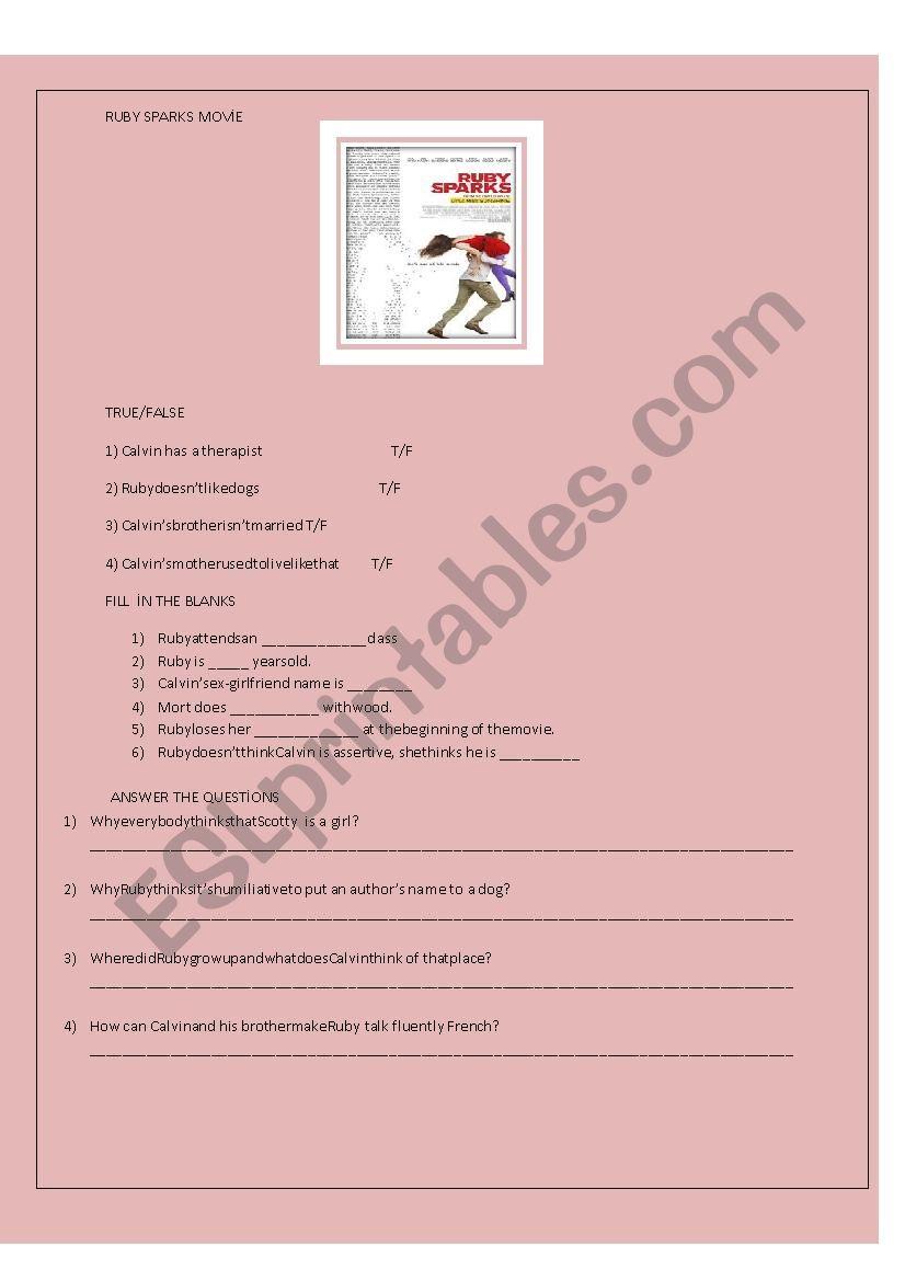 Ruby Sparks movie worksheet worksheet