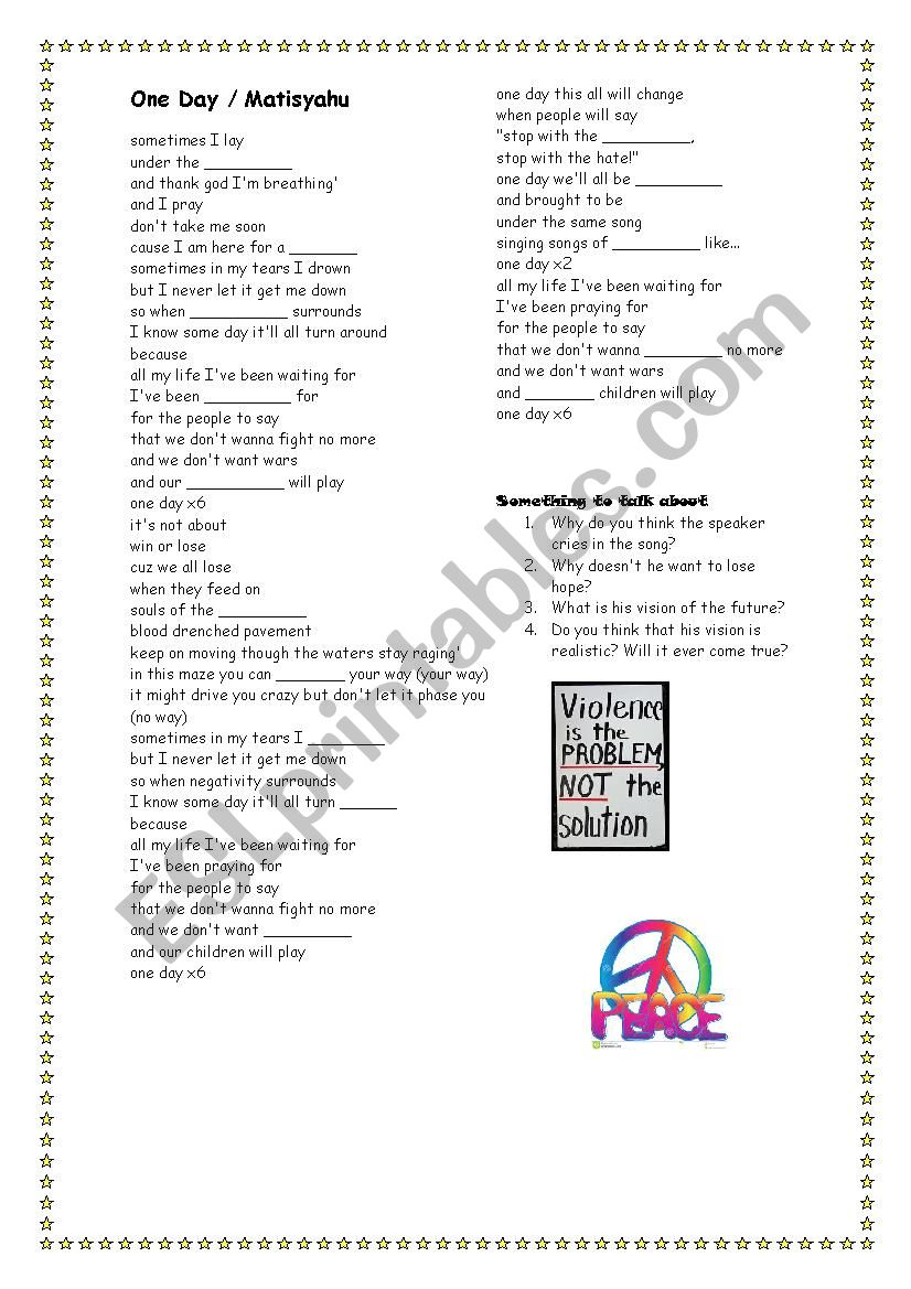 One Day by Matisyahu worksheet