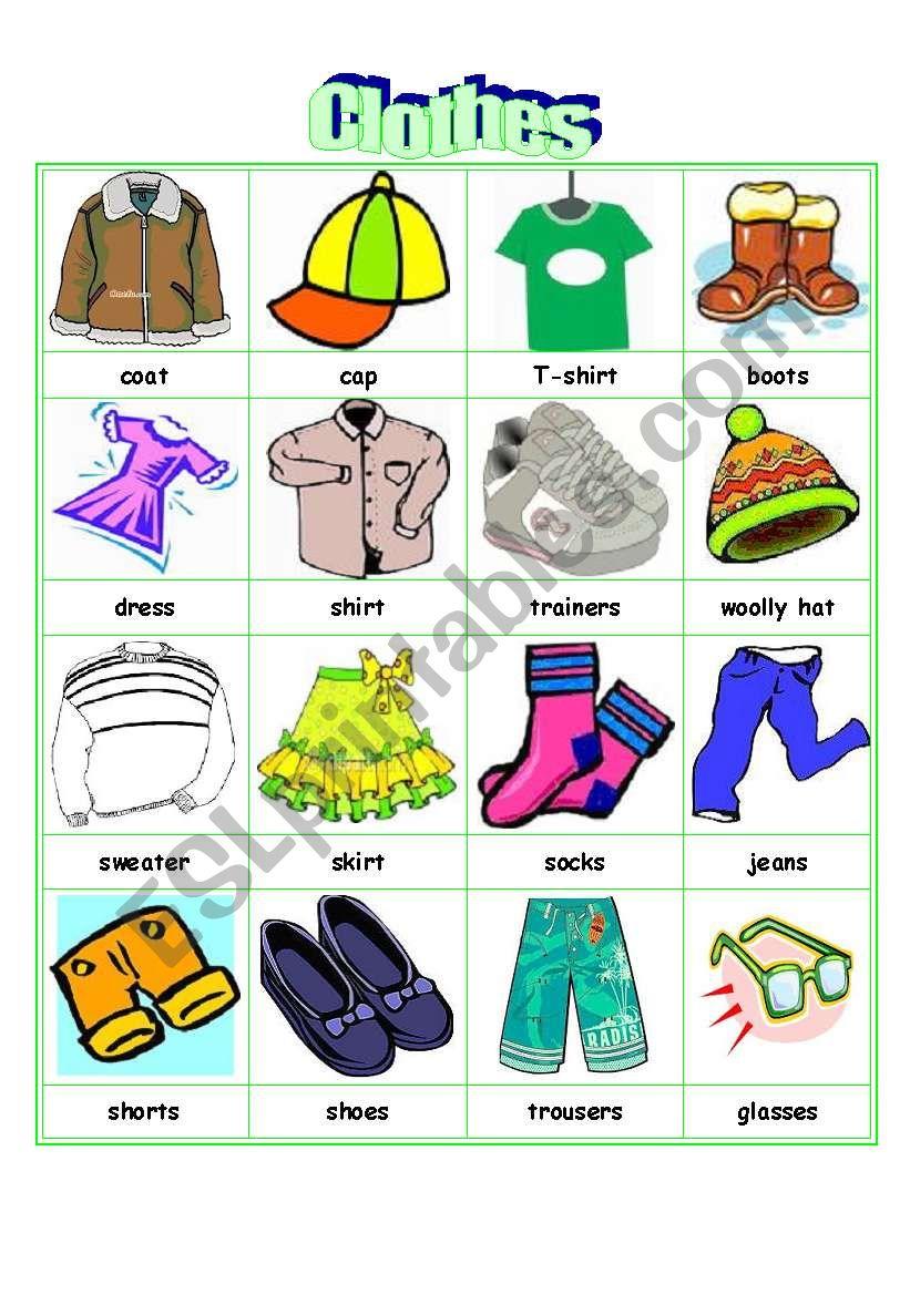 Clothes Flash Cards Esl Worksheet By Sophie0622
