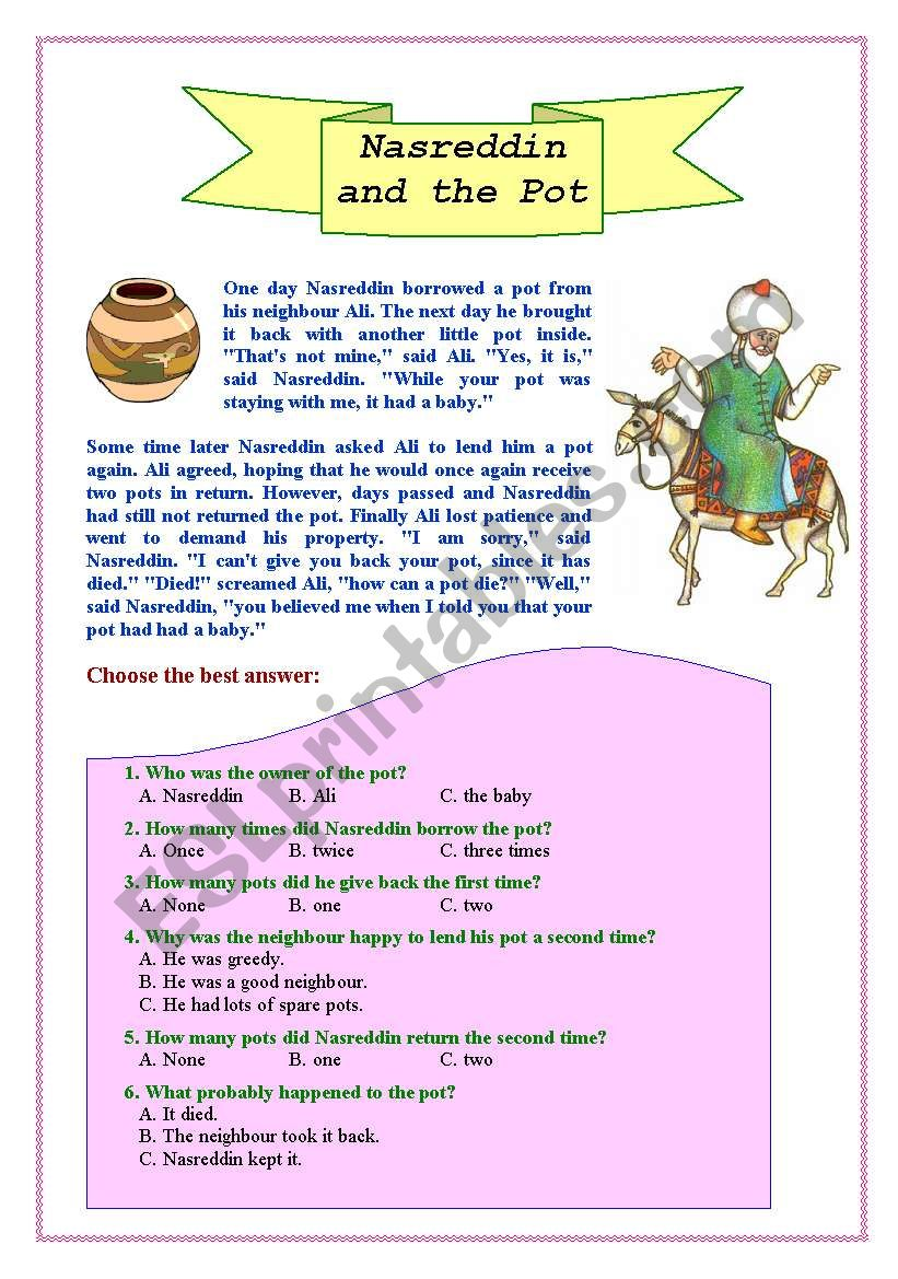 Nasreddin and the pot worksheet