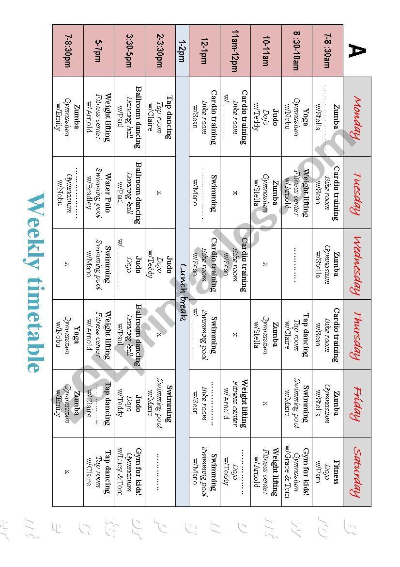Timetable Piarwork worksheet