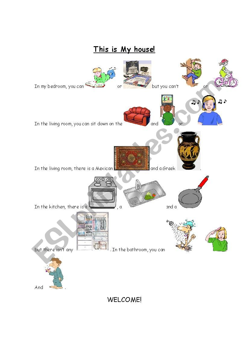 Running dictation with images worksheet