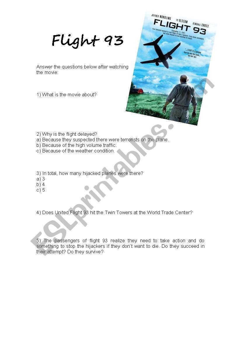 Movie activity (Flight 93) worksheet