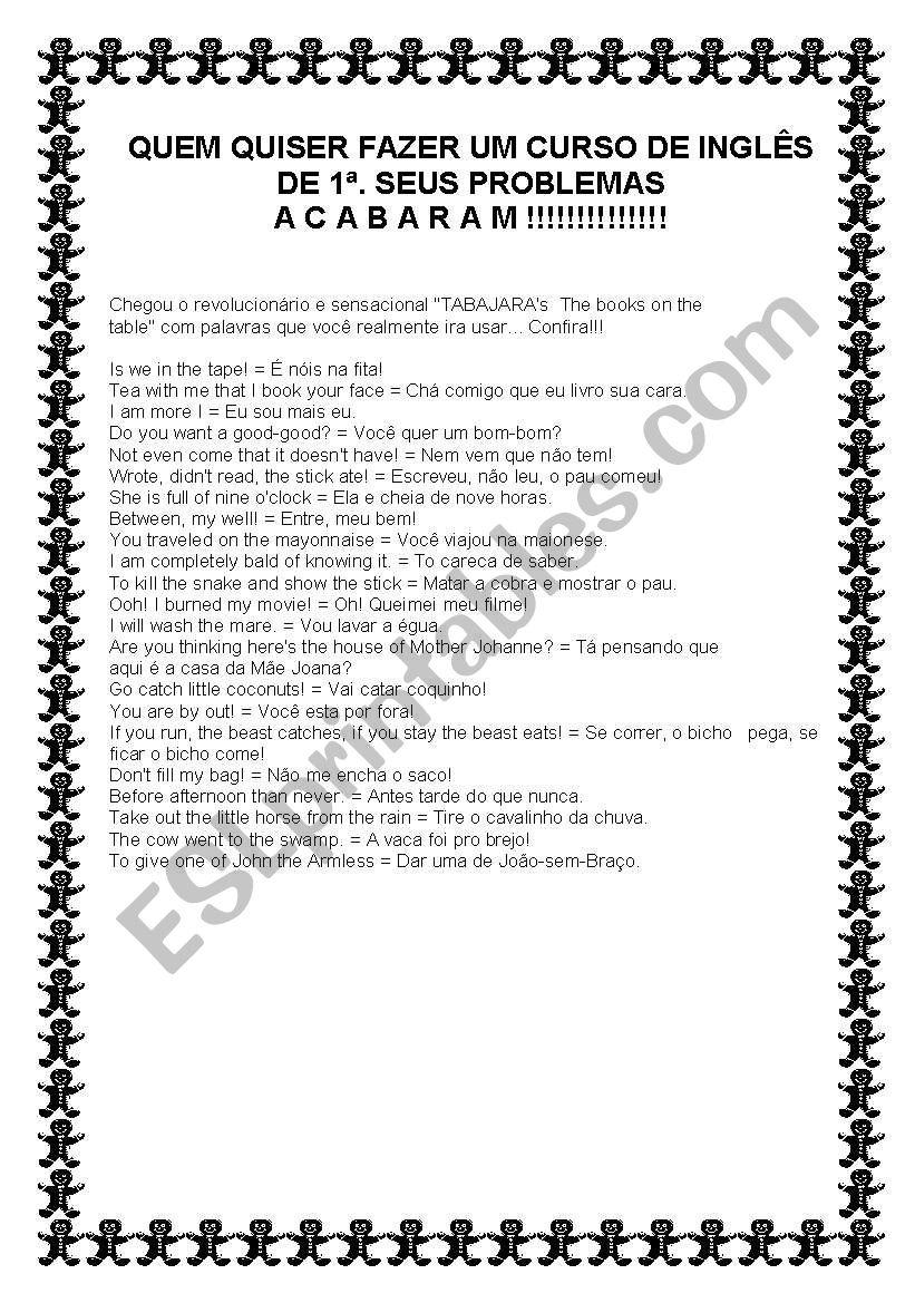 TABAJARA ENGLISH worksheet