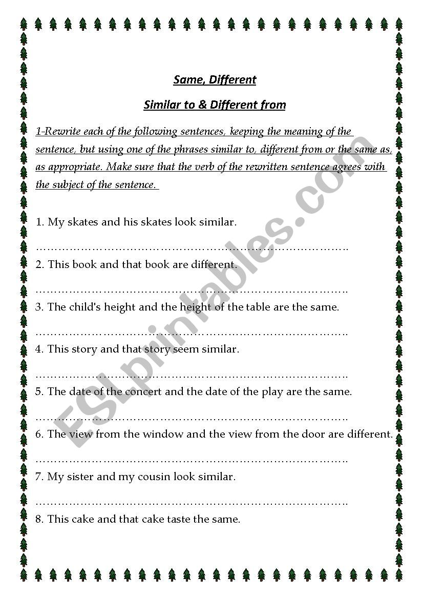 same, similar and different worksheet