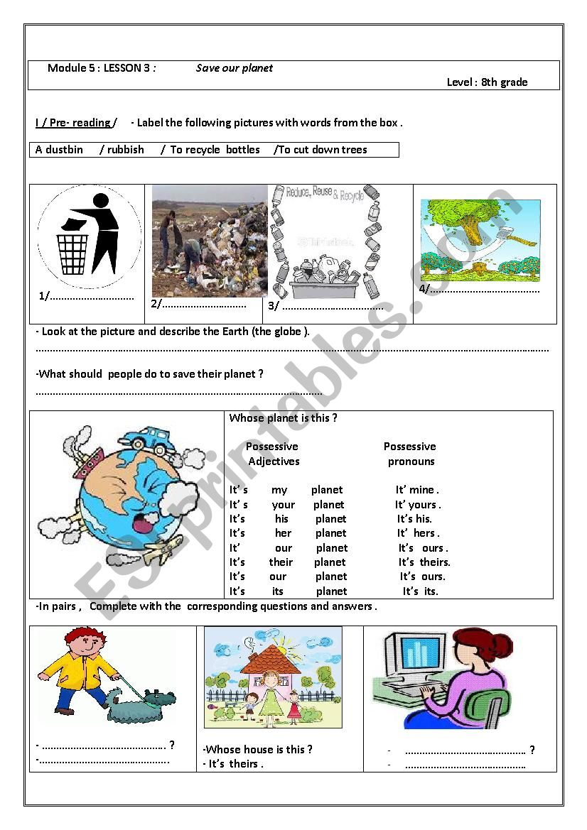 Module 5: Save our planet! worksheet