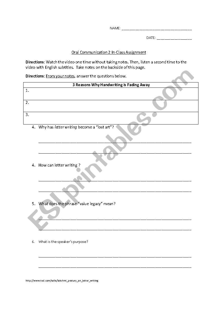 - Art Of Lost Letter Writing Listening Comprehension - ESL Worksheet