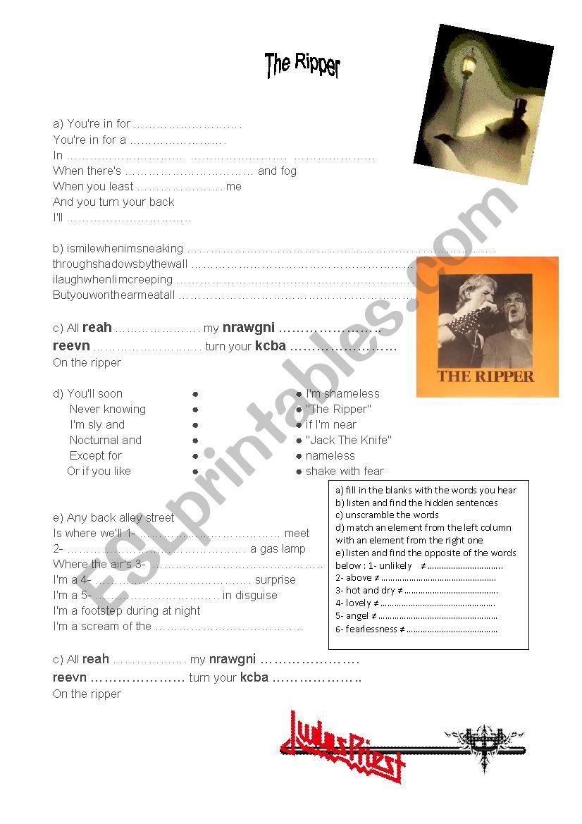 The ripper by Judas Priest worksheet