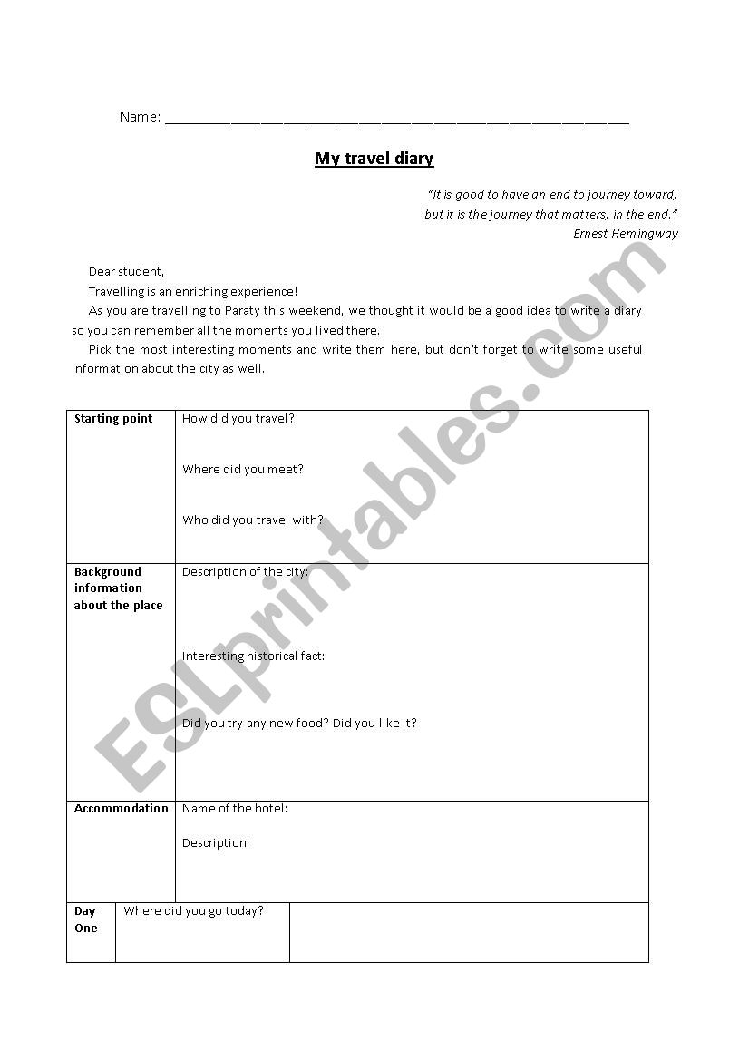 travel diary template
