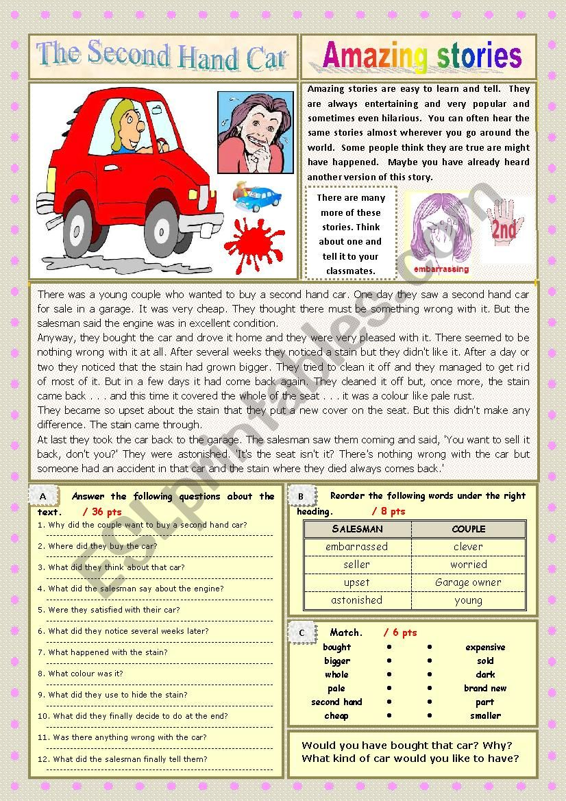 AMAZING STORIES The Second Hand Car (Easy Reader + Voca and Ex) 3/…