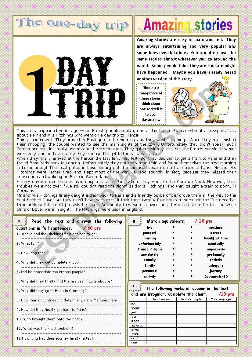 AMAZING STORIES The one-day trip (Easy Reader + Voca and Ex + KEY) 7/…