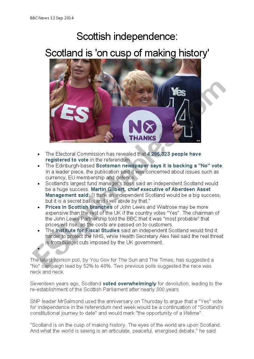 Scottish Independence worksheet