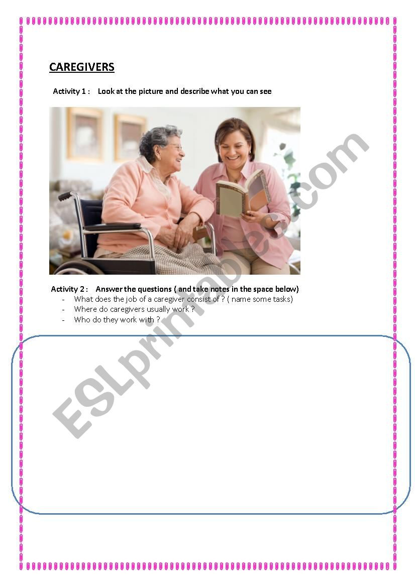 In Home Care worksheet