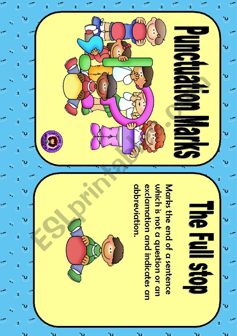 PUNCTUATION - FLASH CARDS worksheet