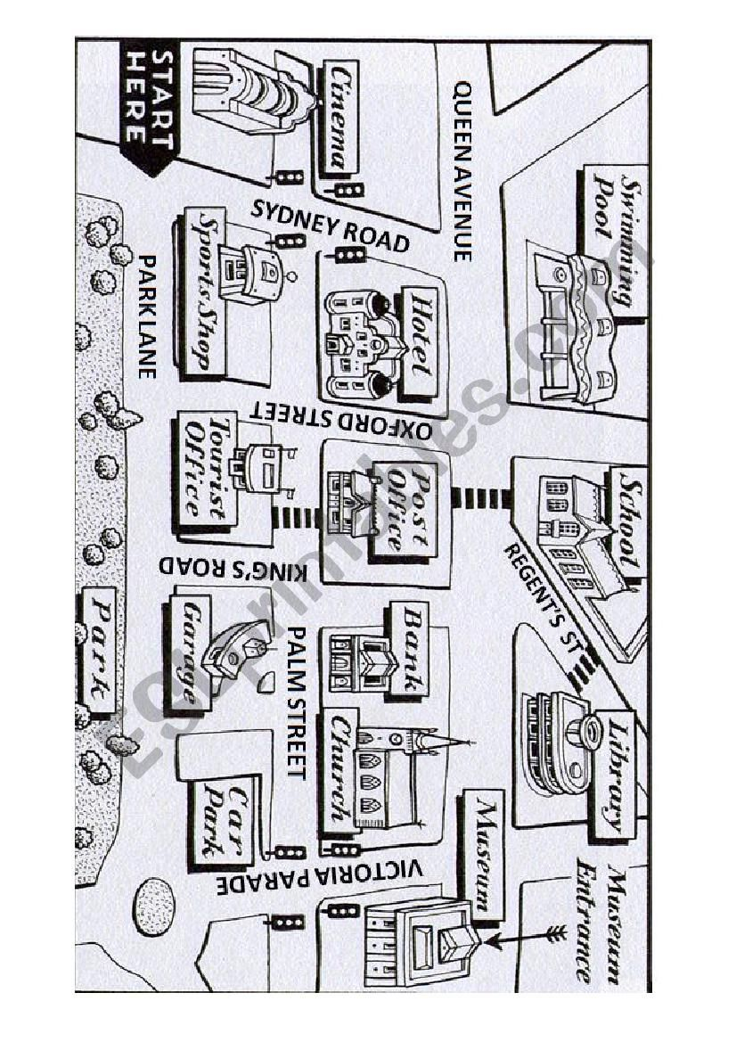 giving directions with map esl worksheet by teimasias. Black Bedroom Furniture Sets. Home Design Ideas