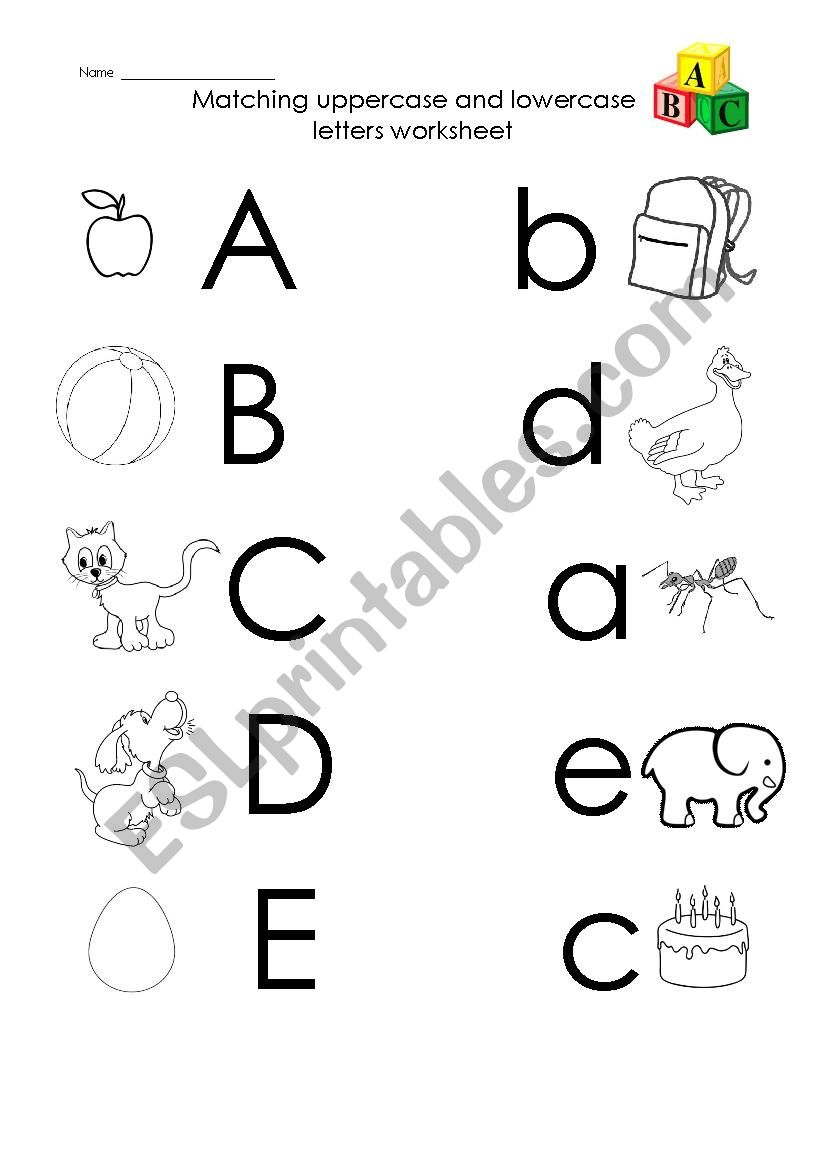 Uppercase To Lowercase Matching Worksheets - Letter