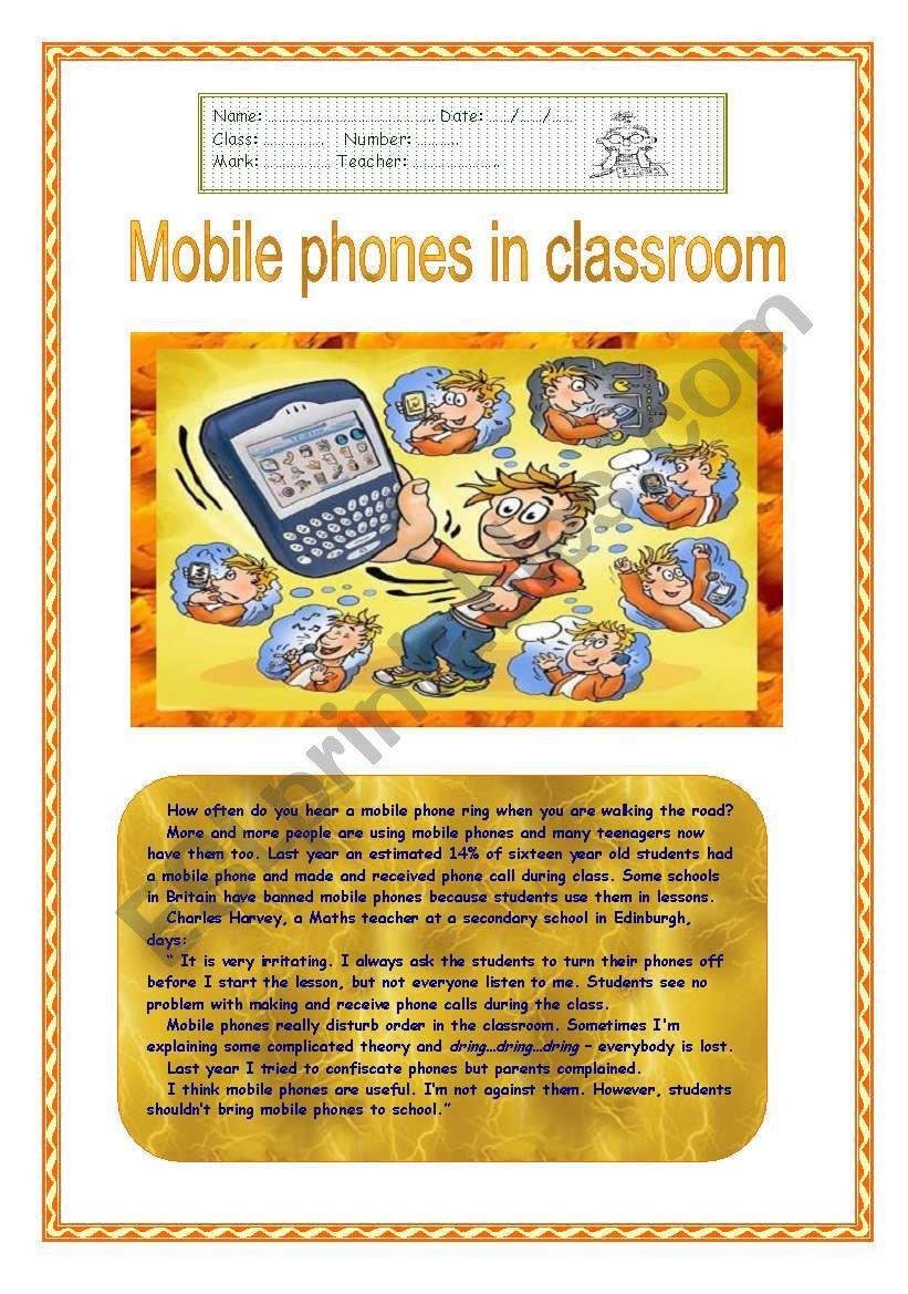 Mobile phones in classroom? worksheet