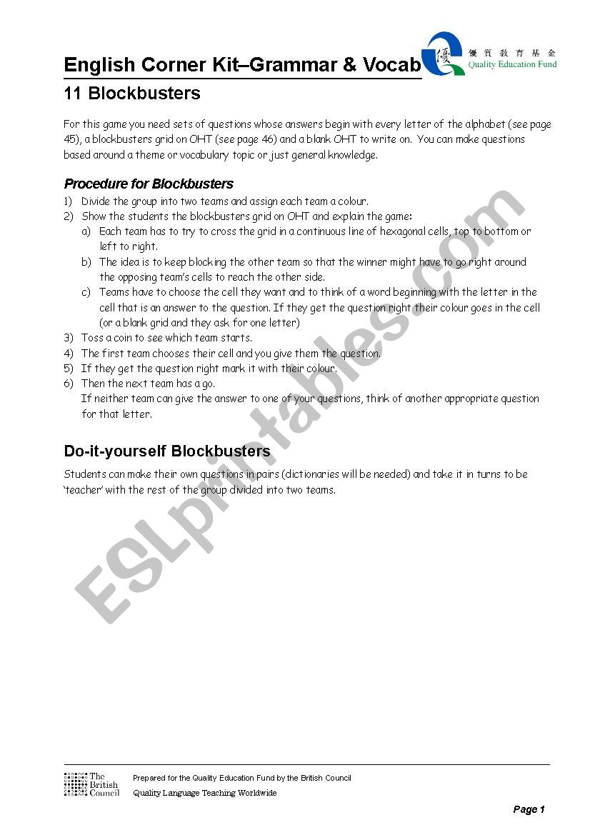 Blockbusters worksheet