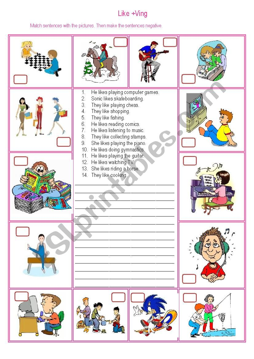 Like + ing worksheet
