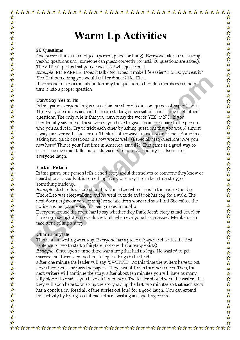Warming up activities worksheet