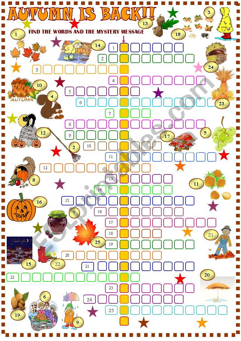Autumn  crossword puzzle worksheet