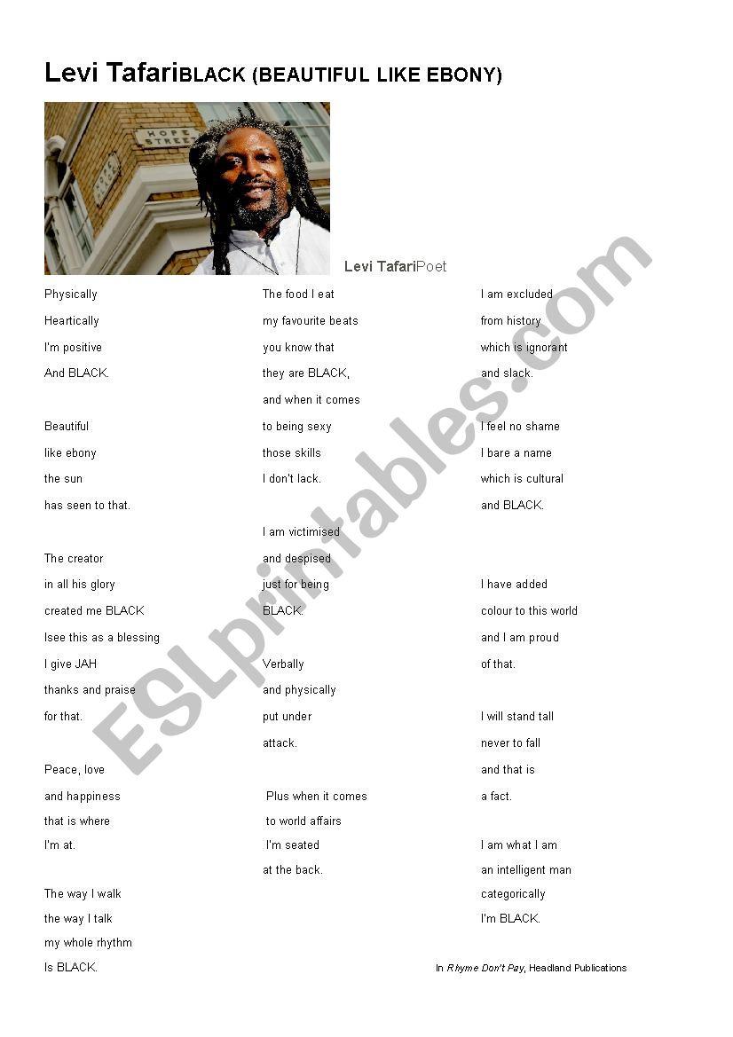 Poem by Levi Tafari worksheet