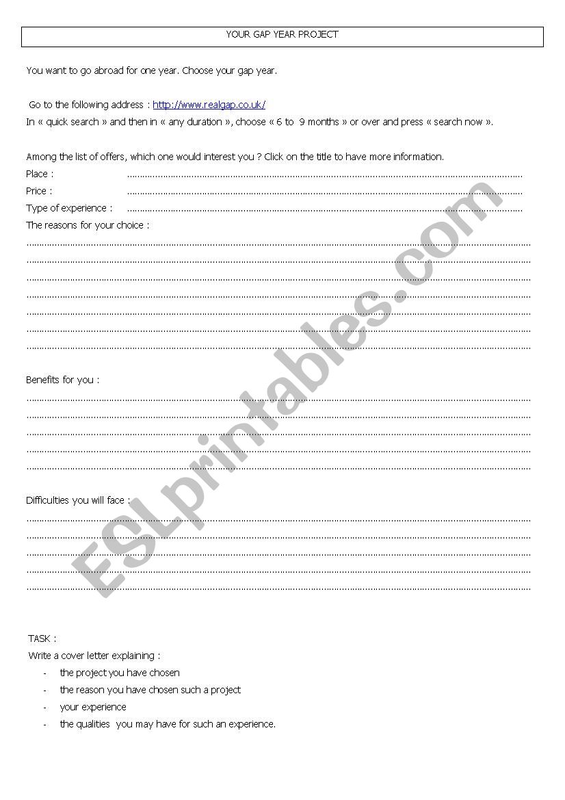 Your gap year project worksheet