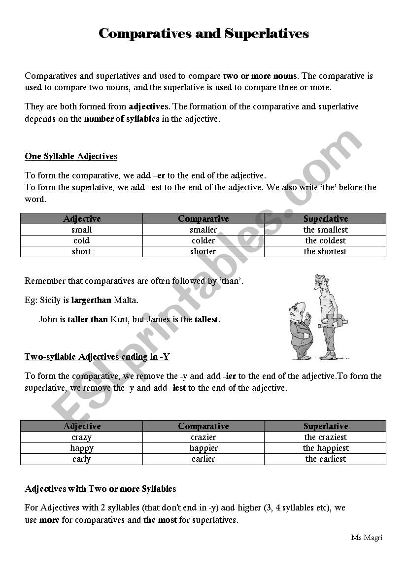 comparatives and superlatives esl worksheet by manda1189