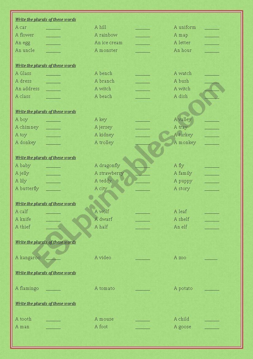 Plural worksheet