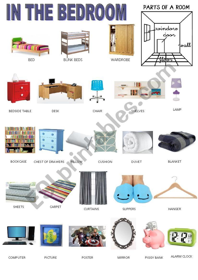 Bedroom vocabulary - pictionary