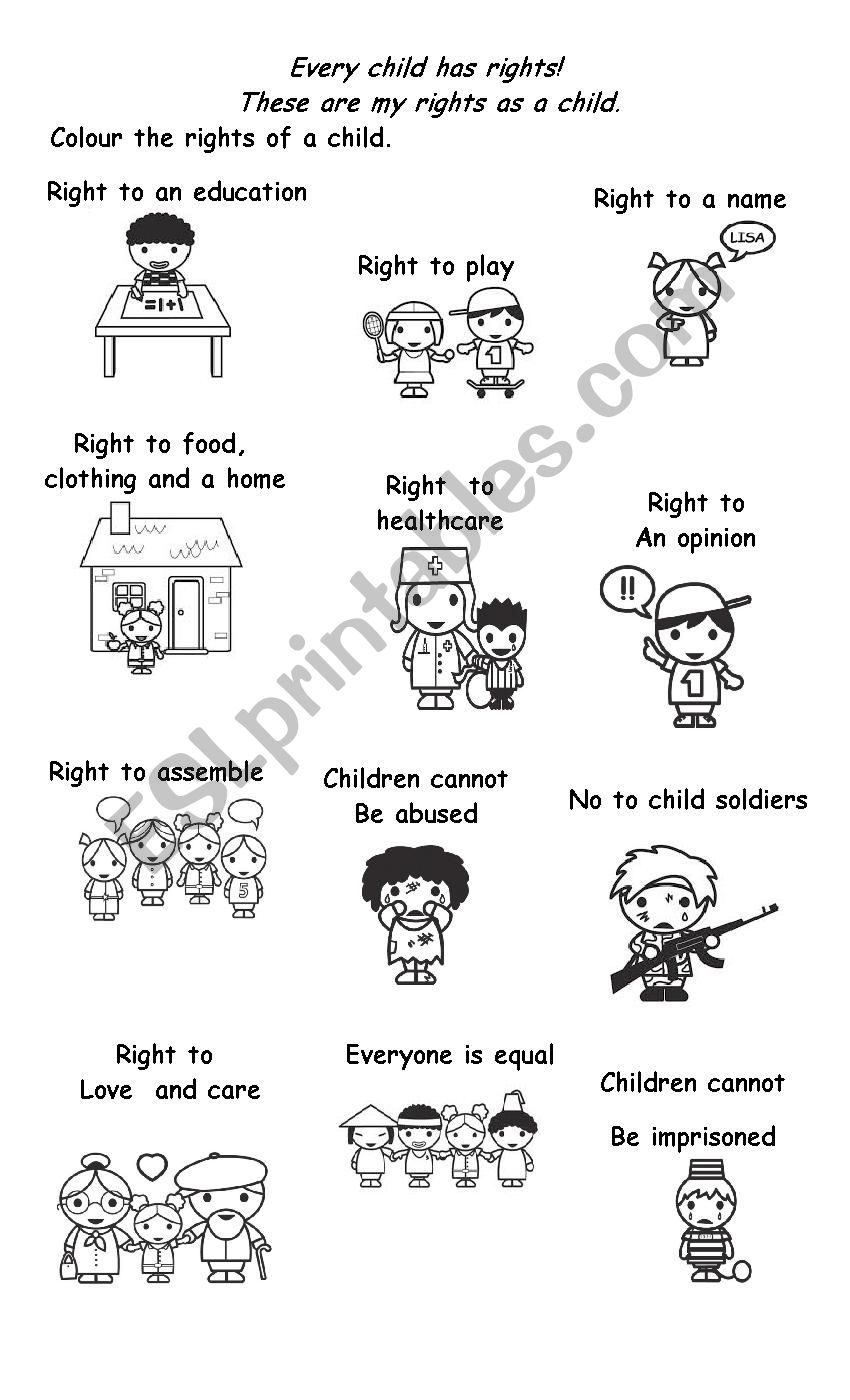 Rights Of A Child - ESL worksheet by kasharnie
