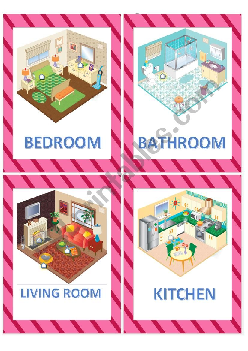 Rooms of the house flashcards worksheet