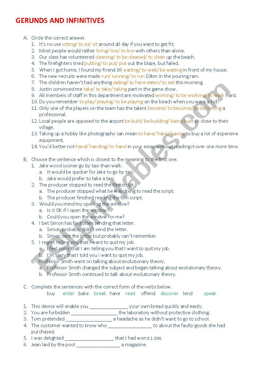 Gerund- Full and bare infinitive (answer key included)