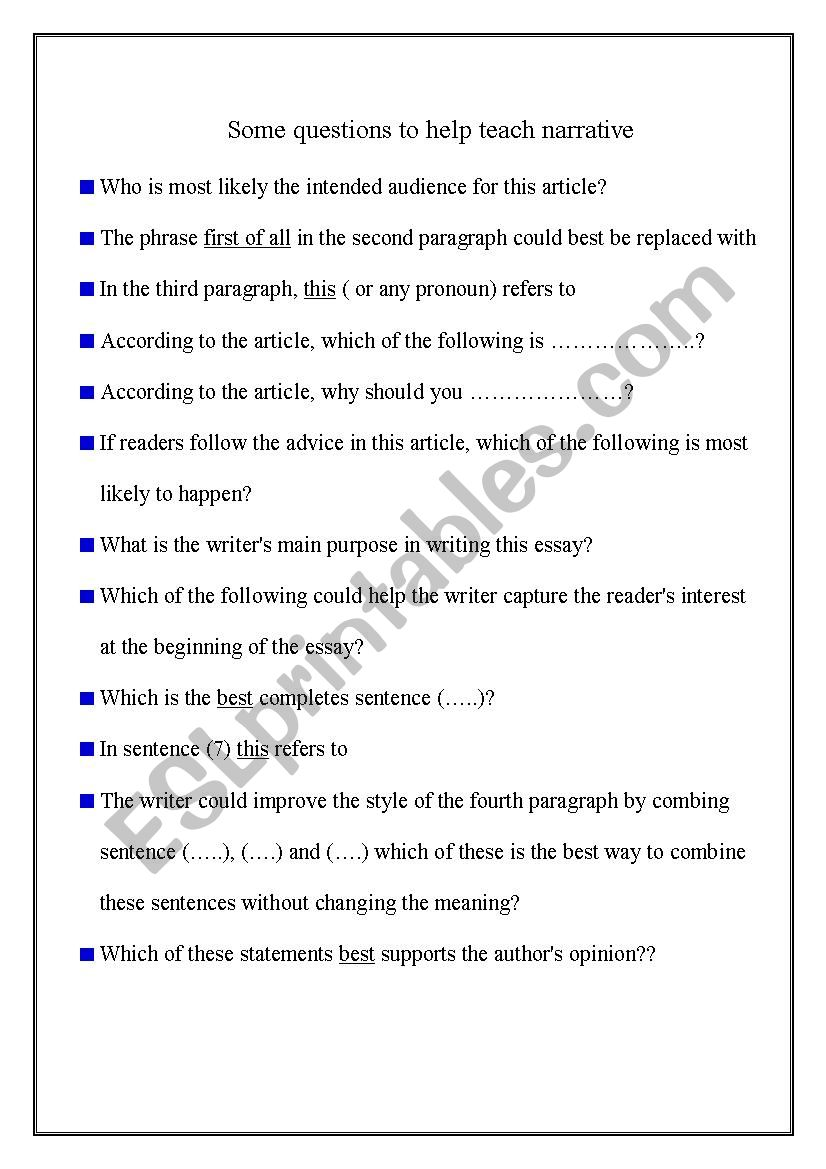 - Narrative Reading Questions - ESL Worksheet By Ramadan62001